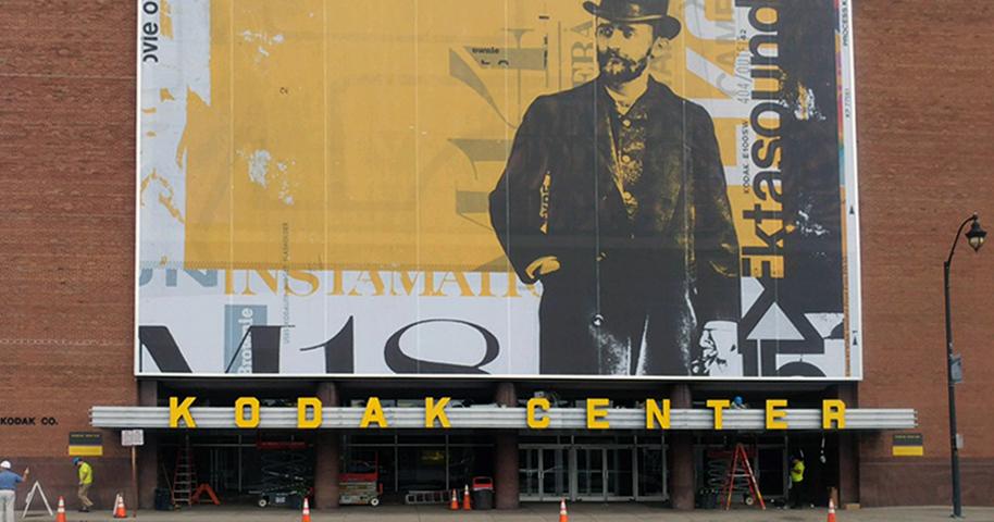 Illuminated Signs at Kodak Center in Detail