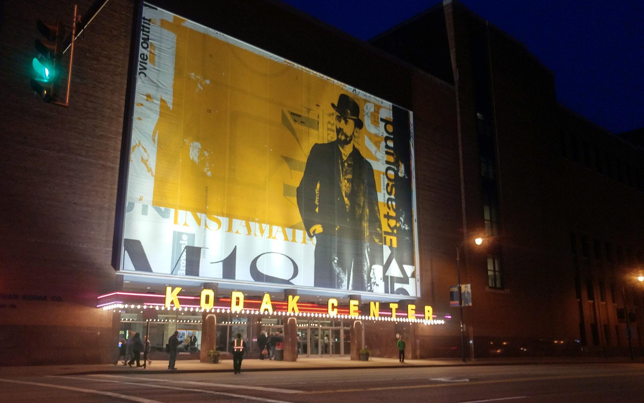 Illuminated Signs at Kodak Center from Distance