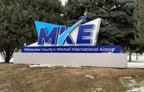 custom architectural sign at MKE