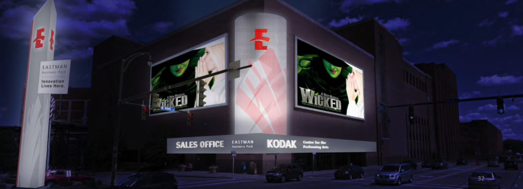 Mockup of the Kodak Center | 3D Signage Design Simulation