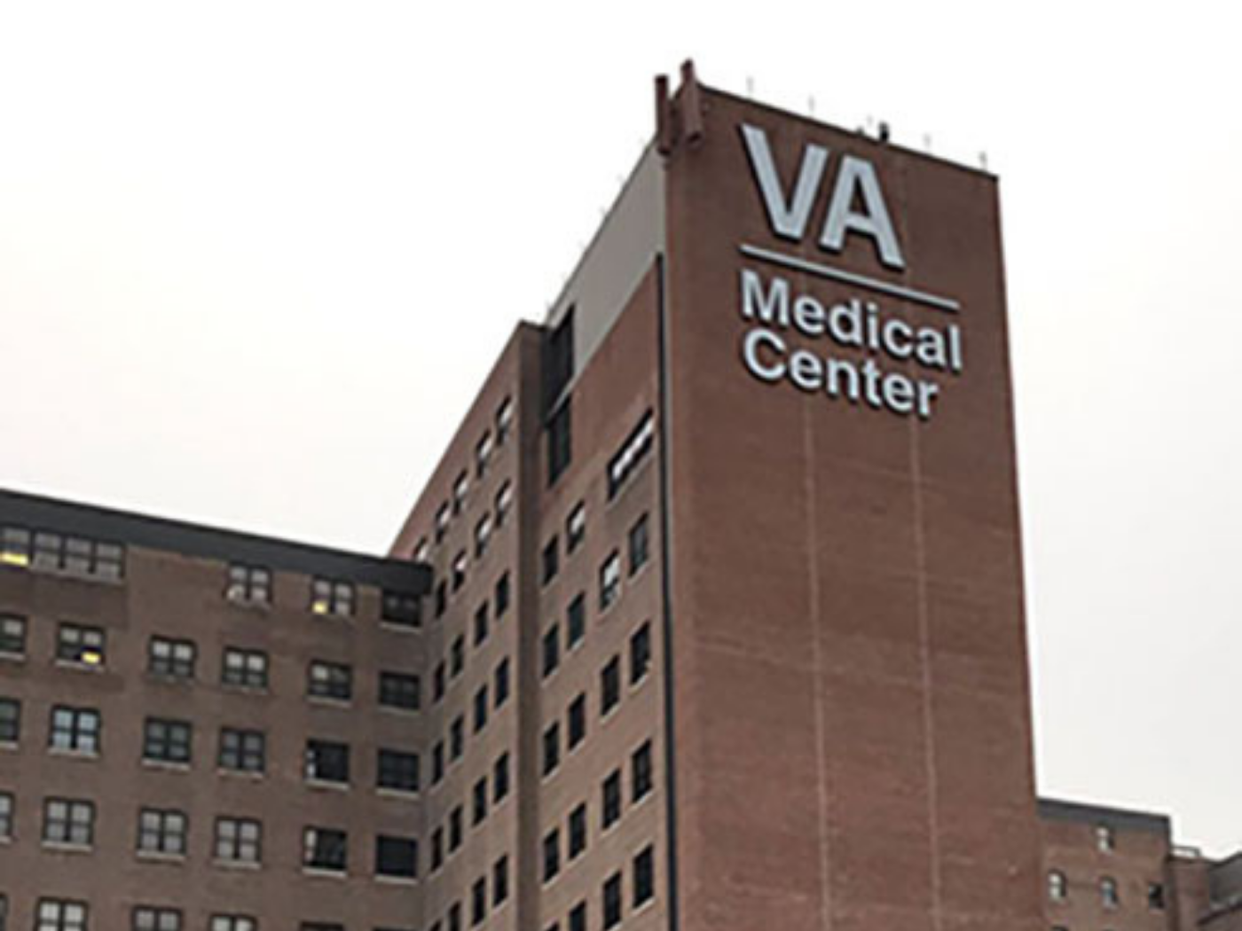 Large channel letters grace the exterior of the Syracuse VA Medical Center.